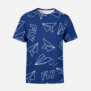 Paper Airplane & Fly (Blue) Designed 3D T-Shirts