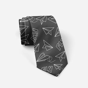 Paper Airplane & Fly (Gray) Designed Ties