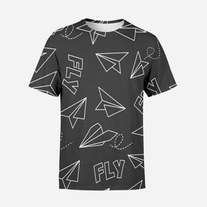 Paper Airplane & Fly (Gray) Designed 3D T-Shirts