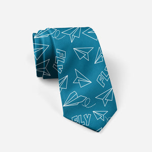Paper Airplane & Fly (Green) Designed Ties