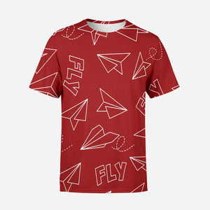 Paper Airplane & Fly (Red) Designed 3D T-Shirts