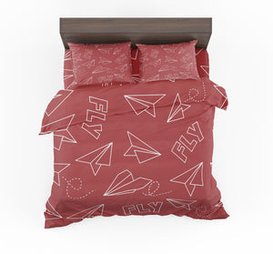 Paper Airplane & Fly (Red) Designed Bedding Sets