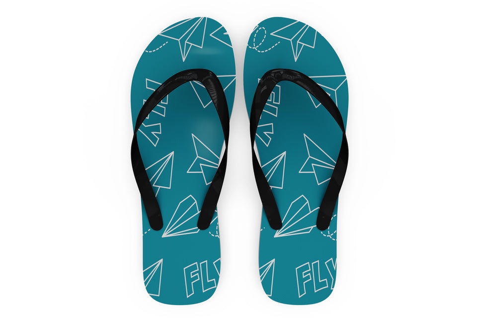 Paper Airplane & Fly Designed Slippers (Flip Flops)
