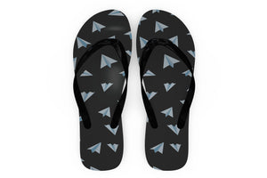 Paper Airplanes (Gray) Designed Slippers (Flip Flops)