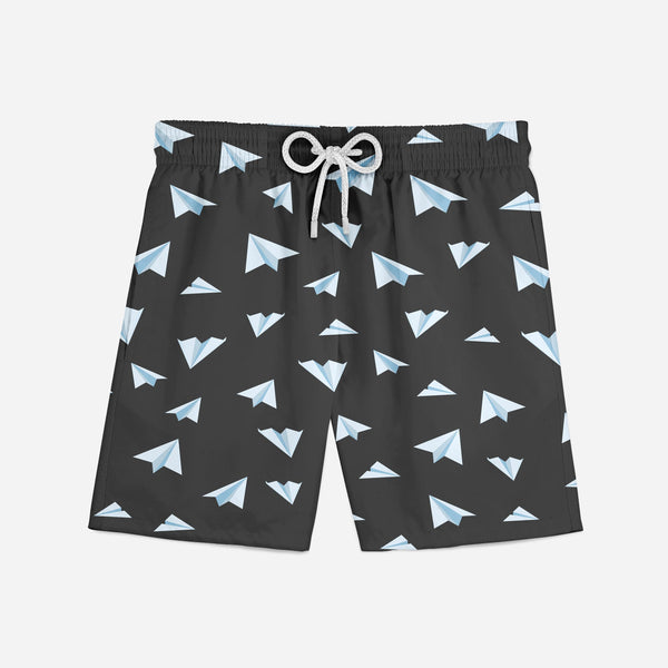 Paper Airplanes (Gray) Designed Swim Trunks & Shorts