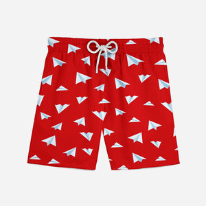 Paper Airplanes (Red) Designed Swim Trunks