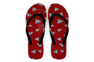 Paper Airplanes (Red) Designed Slippers (Flip Flops)