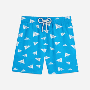 Paper Airplanes Designed Swim Trunks