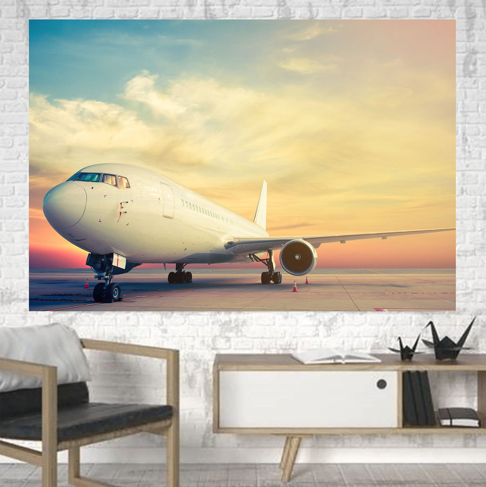 Parked Aircraft During Sunset Printed Canvas Posters (1 Piece) Aviation Shop