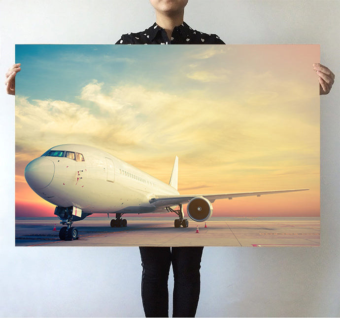Parked Aircraft During Sunset Printed Posters Aviation Shop