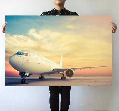 Parked Aircraft During Sunset Printed Posters