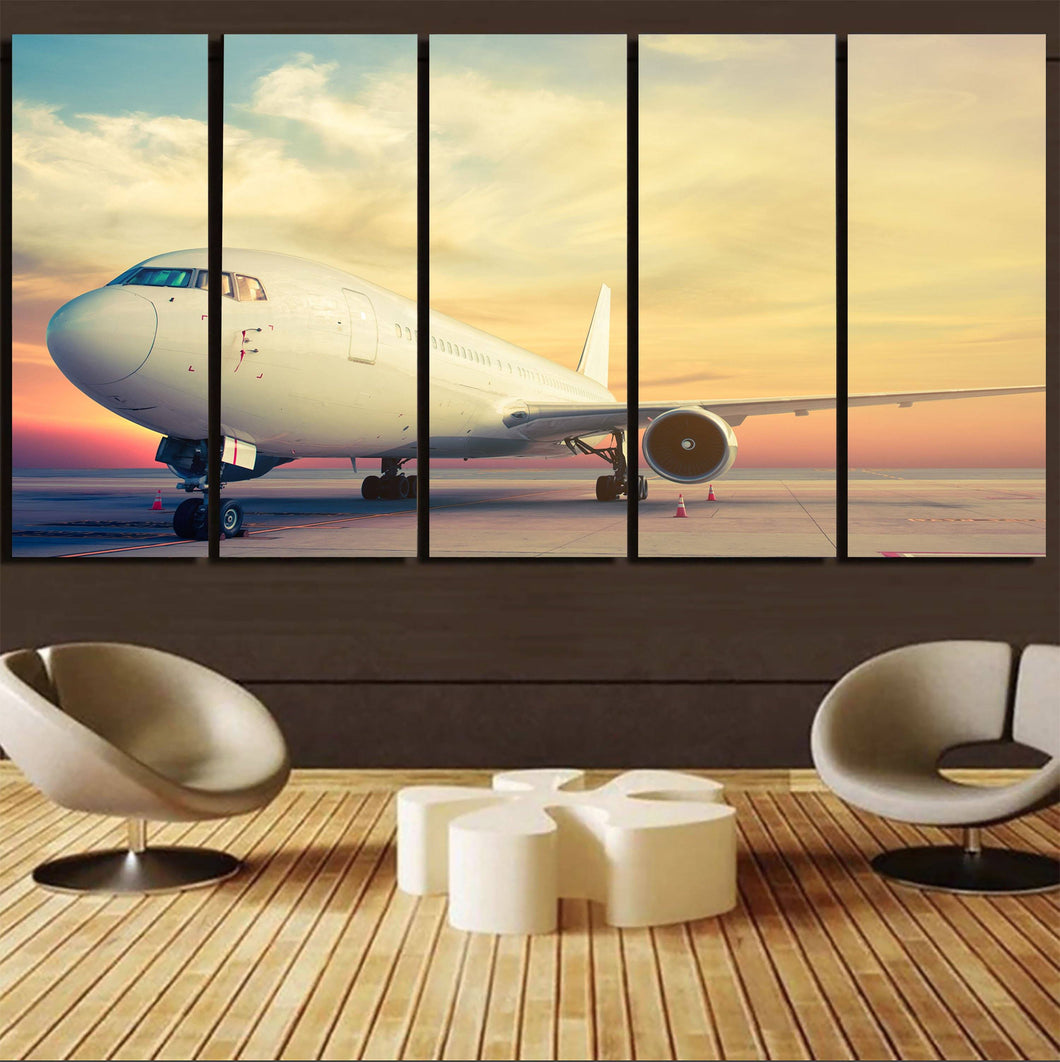 Parked Aircraft During Sunset Printed Canvas Prints (5 Pieces) Aviation Shop