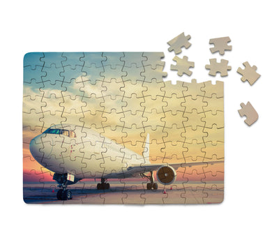 Parked Aircraft During Sunset Printed Puzzles Aviation Shop
