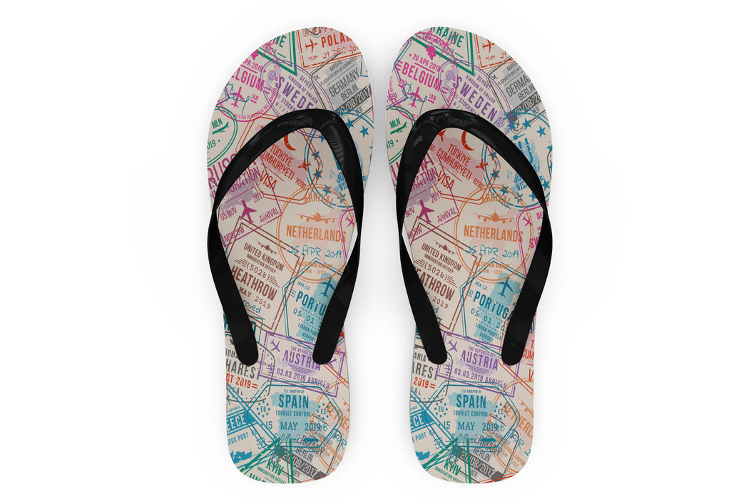 Passport Stamps Designed Slippers (Flip Flops)