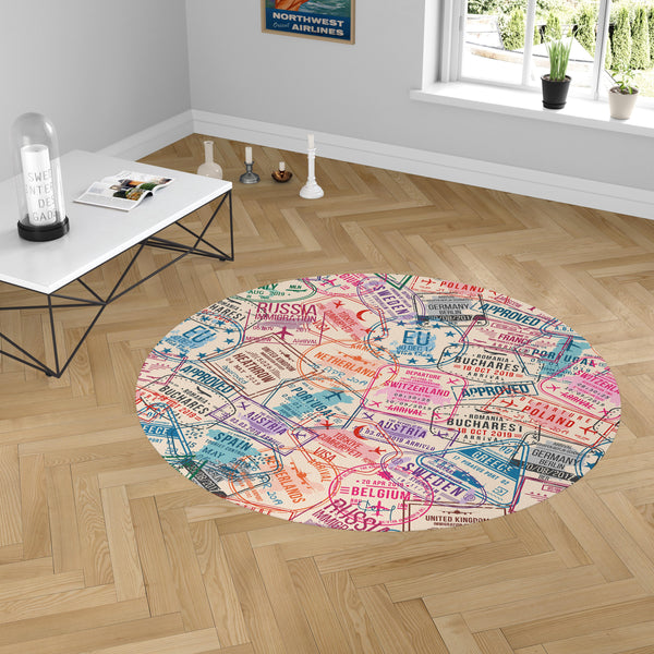 Passport Stamps Designed Carpet & Floor Mats (Round)
