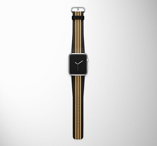 Pilot Epaulette 3 Lines (Golden) Designed Leather Apple Watch Straps