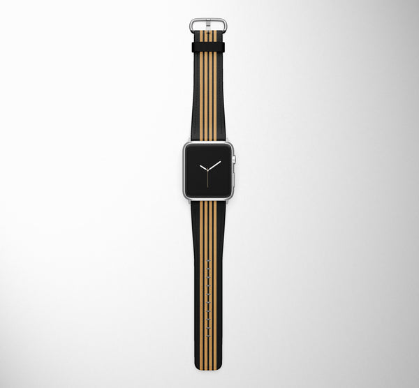 Pilot Epaulette 4 Lines (Golden) Designed Leather Apple Watch Straps