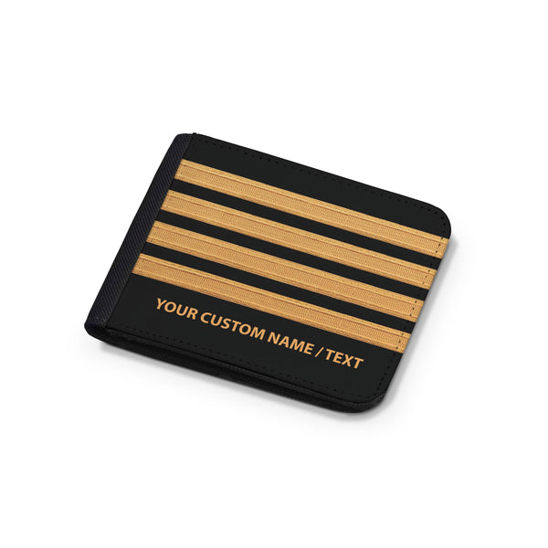 Customizable Name & Pilot Epaulettes (4,3,2 Lines) Designed Wallets