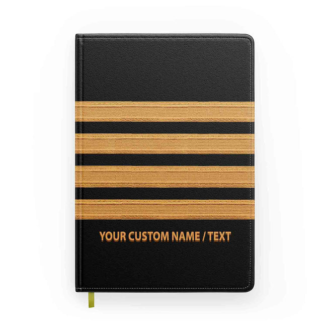 Customizable Name & Pilot Epaulette (4,3,2 Lines) Designed Notebooks