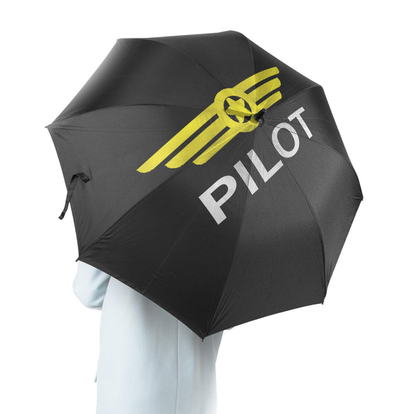 Pilot & Badge Black Designed Umbrella