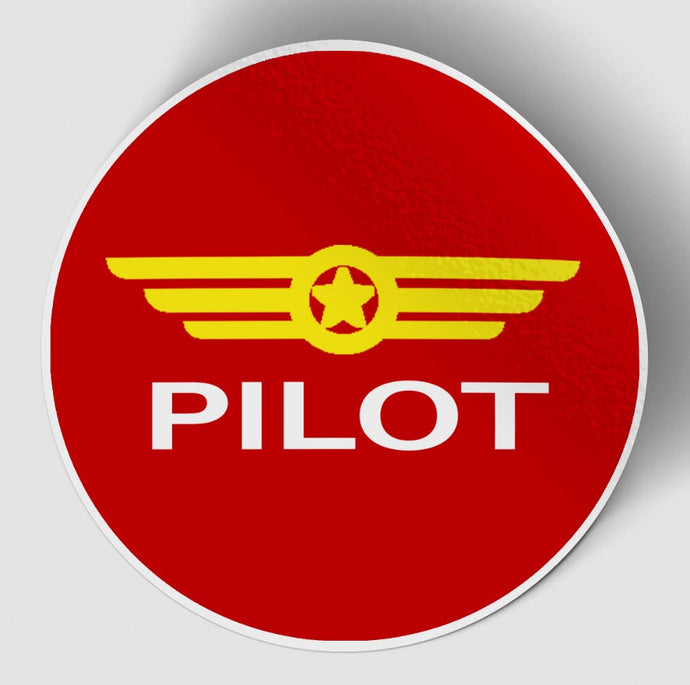 Pilot & Badge Red Designed Stickers