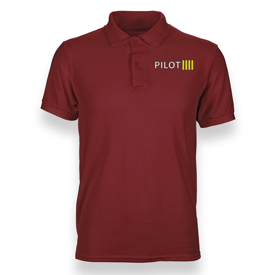 Pilot & Stripes (4 Lines) Designed Polo T-Shirts