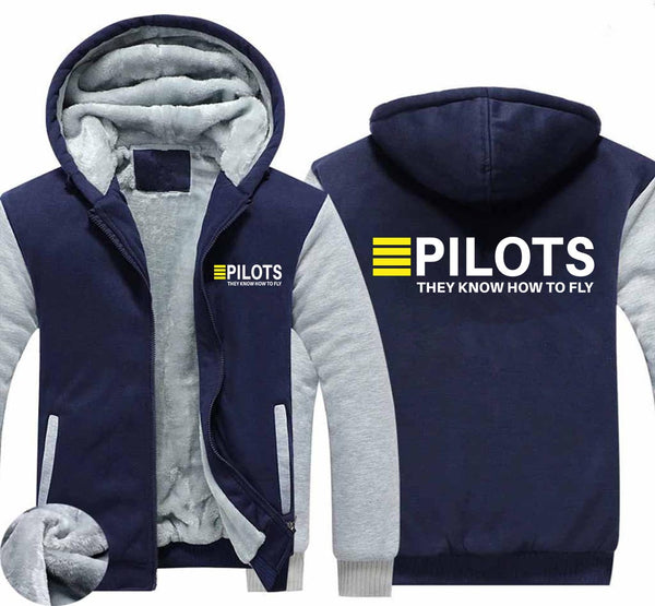 Pilot's They Know How To Fly Designed Zipped Sweatshirts