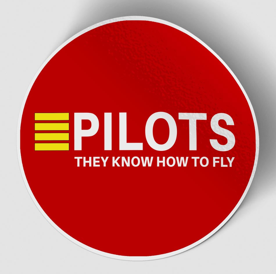 Pilots They Know How To Fly Red Designed Stickers