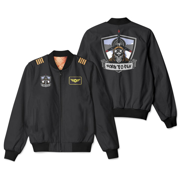Skull Pilot Patch & Customizable Badge Designed 3D Bomber Jackets