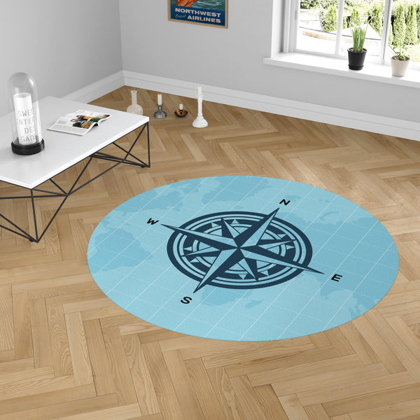 Plain Designed Blue Compass Carpet & Floor Mats (Round)
