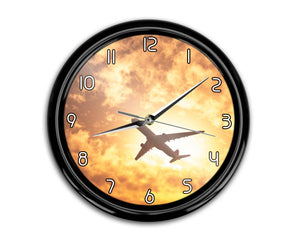 Plane Passing By Printed Wall Clocks Aviation Shop