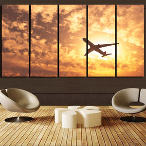 Plane Passing By Printed Canvas Prints (5 Pieces) Aviation Shop
