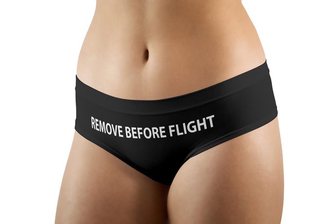REMOVE BEFORE FLIGHT (Black) Designed Women Panties & Shorts