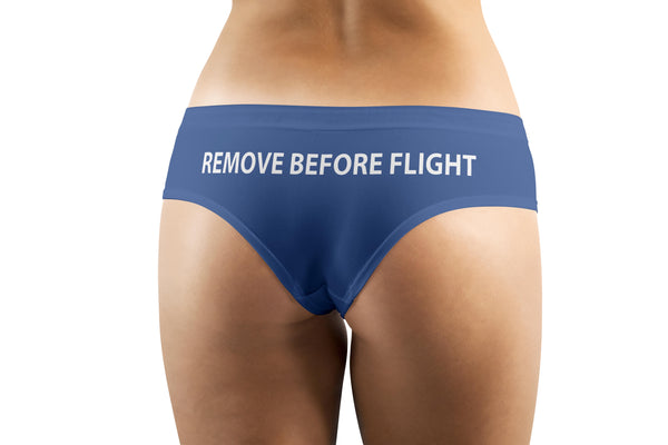 REMOVE BEFORE FLIGHT (Blue) Designed Women Panties & Shorts
