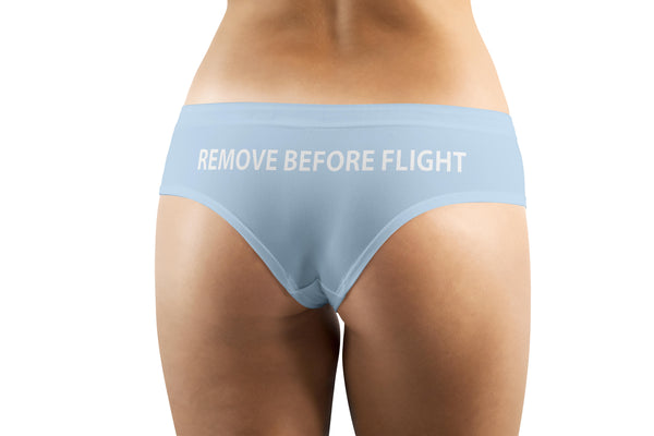 REMOVE BEFORE FLIGHT (Light Blue) Designed Women Panties & Shorts