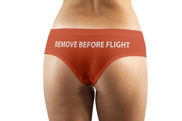 REMOVE BEFORE FLIGHT (Orange) Designed Women Panties & Shorts