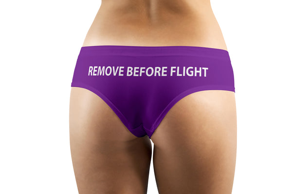 REMOVE BEFORE FLIGHT (Purple) Designed Women Panties & Shorts