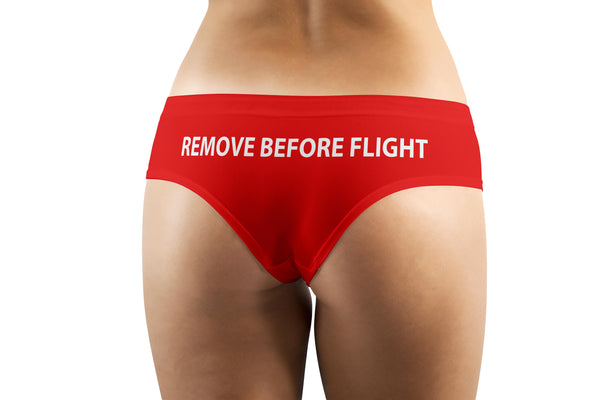 REMOVE BEFORE FLIGHT (Red) Designed Women Panties & Shorts