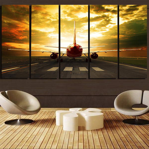 Ready for Departure Passenger Jet Printed Canvas Prints (5 Pieces)