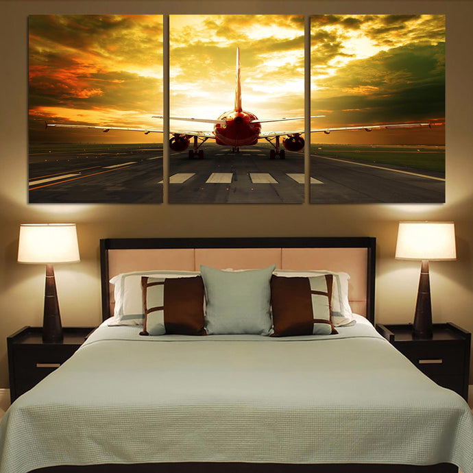Ready for Departure Passenger Jet Printed Canvas Posters (3 Pieces)