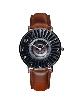Real Jet Engine Printed Leather Strap Watches Aviation Shop Black & Brown Leather Strap