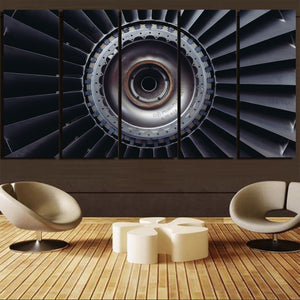 Real Jet Engine Printed Canvas Prints (5 Pieces) Aviation Shop
