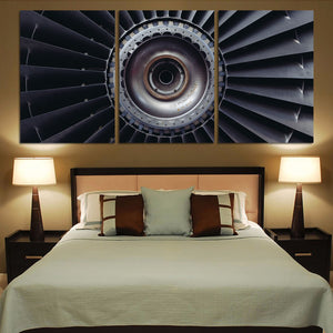 Real Jet Engine Printed Canvas Posters (3 Pieces) Aviation Shop