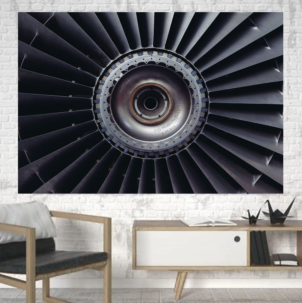 Real Jet Engine Printed Canvas Posters (1 Piece) Aviation Shop