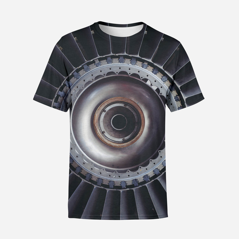 Real Jet Engine Printed 3D T-Shirts