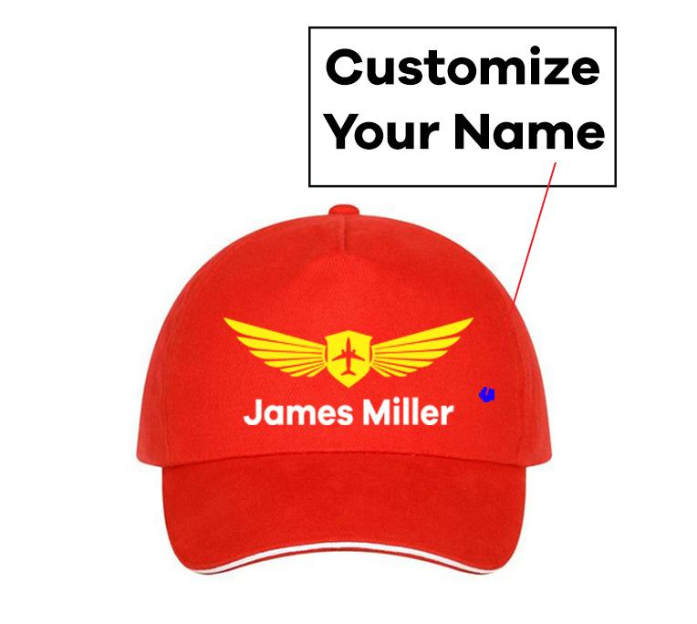 Customizable Name & Badge Designed Hats Pilot Eyes Store Red(Colour)