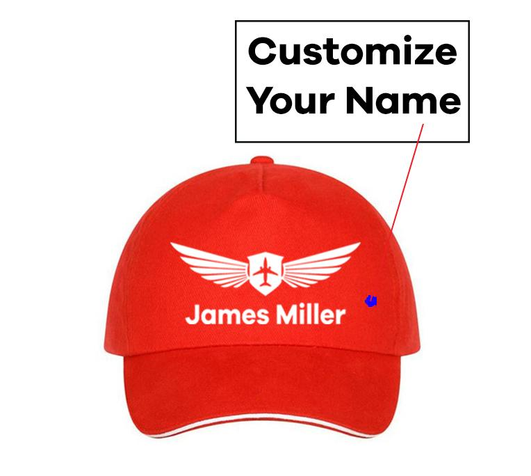 Customizable Name & Badge Designed Hats Pilot Eyes Store Red