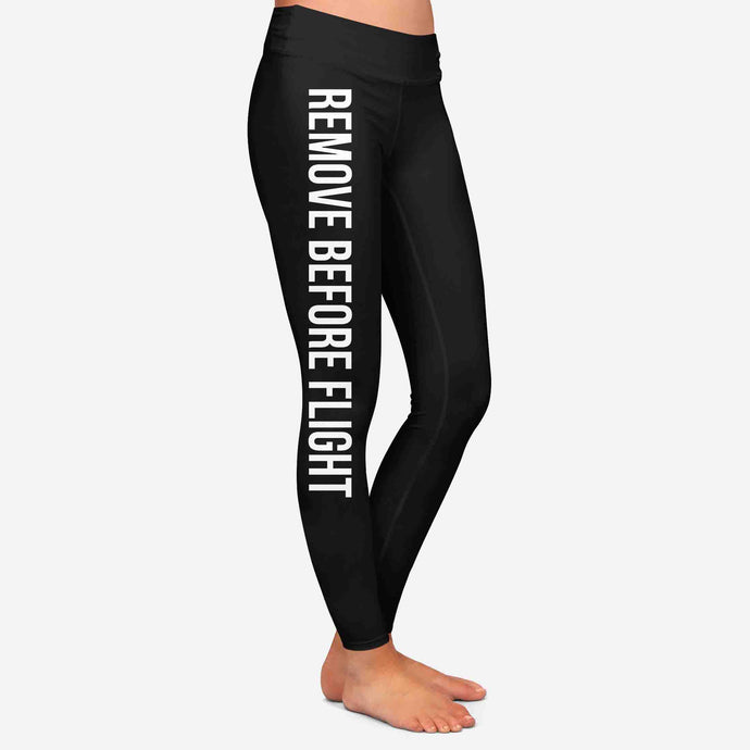 Remove Before Flight 2-Black Designed Women Leggins