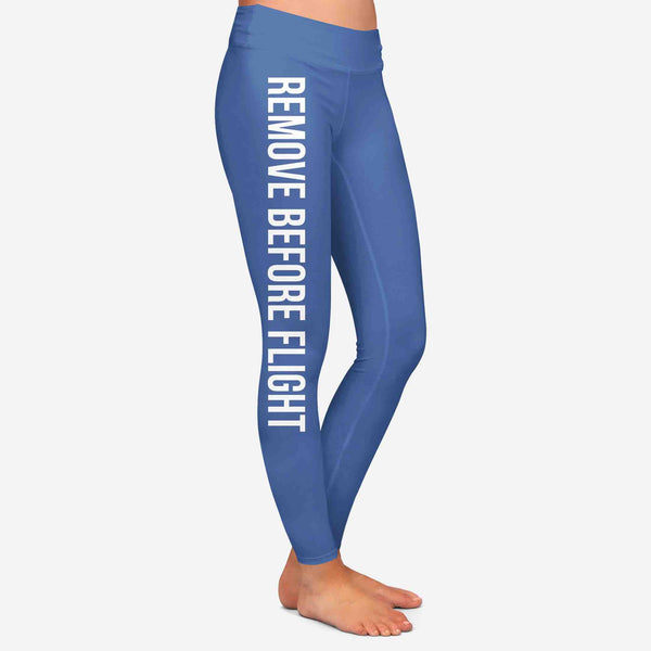 Remove Before Flight 2-Blue Designed Women Leggins