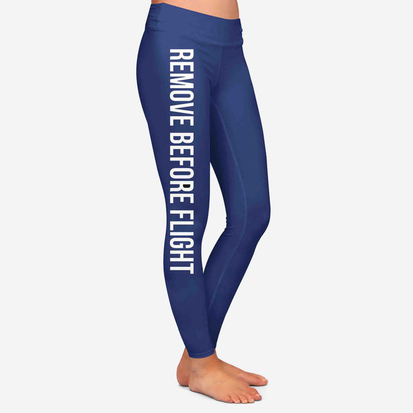 Remove Before Flight 2-Dark Blue Designed Women Leggins